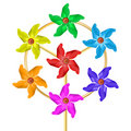 Seven windmill colors Royalty Free Stock Photo