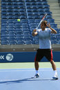 Seventeen times grand slam champion roger federer practices for us open at arthur ashe stadium flushing ny august billie jean Stock Image