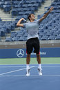 Seventeen times grand slam champion roger federer practices for us open at arthur ashe stadium flushing ny august billie jean Royalty Free Stock Photography