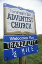 Seventh-Day Adventist Church sign in New Jersey Royalty Free Stock Photo