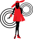Seventies fashion woman silhouette Stock Photography