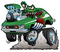 Seventies Green Hot Rod Funny Car Cartoon Vector Illustration