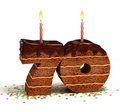 Seventieth birthday or anniversary cake Royalty Free Stock Photo