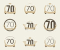 Seventy years anniversary celebration logotype th anniversary logo collection Stock Images
