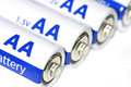 Several aa batteries close up Stock Images