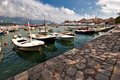 Several boats in Budva Royalty Free Stock Photos