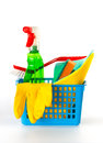 Several cleaning products in a basket Royalty Free Stock Image