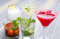 Several coctails served on table colorful mojito bloody mary Royalty Free Stock Images