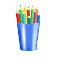 Several color pencils in a cup vector illustration eps gradient meshes Royalty Free Stock Photography