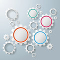 Several colored and white gears infographic on the grey background eps vector file Stock Photos
