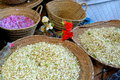 Several colorful spices place on baskets in a typical herbs shops of marrakech s ancient medina morocco Royalty Free Stock Images