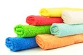 Several colorful towels macro view of on white Royalty Free Stock Image