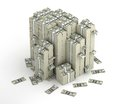 Several columns of dollars money packs Royalty Free Stock Photo