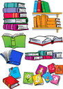 Several different books on vector illustration shows some types of objects isolated on a white background on separate layers in a Royalty Free Stock Photo