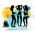 Several girls are dancing on the beach vector illustration Stock Photography