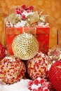 Several golden and red Christmas balls Royalty Free Stock Photos