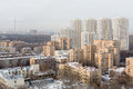 Several high rise residential buildings at elk island moscow dec housing complex on december in moscow russia Royalty Free Stock Photos