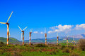 Several huge modern windmills Royalty Free Stock Photo