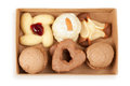 Several kinds of cookies and cakes in open box Royalty Free Stock Images