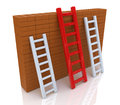Several ladders with different length leaning the brick wall in design of access to information relating to business and Stock Photo
