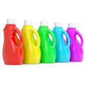 Several of multi colored plastic bottles render on a white background Stock Image