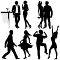 Several people are dancing on the party vector silhouettes Stock Photography