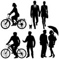 Several people on the street city live vector silhouettes Stock Image