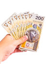 Several polish two hundred banknotes Stock Photo