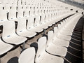 Several rows of empty seats in a statium Royalty Free Stock Photo