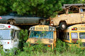 Several scrapped vehicles sit stacked in auto junkyard old piled on top of each other Royalty Free Stock Images