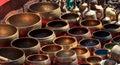 Several singing bowls at a bazaar displayed market in kathmandu nepal Stock Photo