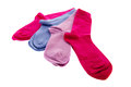 Several socks in blue and pink isolated over white background Stock Image