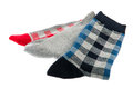 Several socks red blue and gray Royalty Free Stock Images