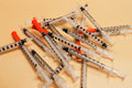 Several syringes without medication for injection Royalty Free Stock Photo