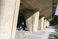 Several tapered oval concrete supports of the famous le corbusier house unit Stock Photo