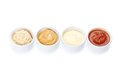 Several types of sauce on a white background Royalty Free Stock Photos