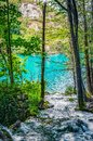 Several waterfalls of one of the most astonishing Plitvice Lakes, Croatia. A truly virgin and wonderful piece of nature Royalty Free Stock Photo