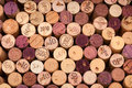 Several wine corks seen from above the vintage is printed on some of them Royalty Free Stock Photography