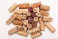 Several Wine Corks on a white background. Royalty Free Stock Photo