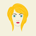 Severe angled stacked bob woman hairstyle vector illustration eps Stock Photos