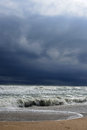 Severe storm at sea big waves on the black Royalty Free Stock Photo