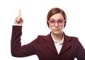 Severe teacher threatening with the finger Royalty Free Stock Photo