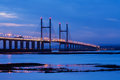 Severn bridge at night view of the which spans from england to wales in the british isles Royalty Free Stock Photos