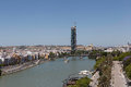 Sevilla view from the torre del oro gvadalakivir river is a great place for walking on little boats boats or pedalos one of main Royalty Free Stock Photography
