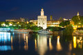Seville at a black summer night Royalty Free Stock Photo