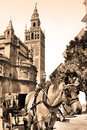 Seville carriage near cathedral retro style Royalty Free Stock Images