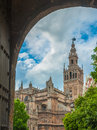 Seville cathedral and giralda bell tower spain europe Royalty Free Stock Image