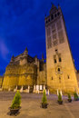 Seville Cathedral with Giralda tower in night.  Spain Royalty Free Stock Photo
