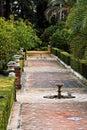 Seville, Fountains in Real Alcazar Gardens Royalty Free Stock Photo