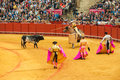 Seville spain april corrida at maestranza bullring on ap in Royalty Free Stock Photos